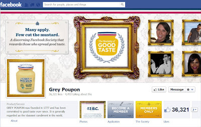Screenshot of Grey Poupon Facebook timeline photo showing the Becoming a Member and Member Only modules