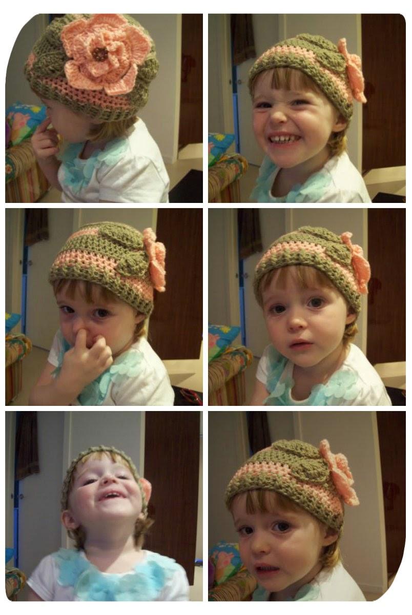 beautiful Cindy wearing a crochet hat I made