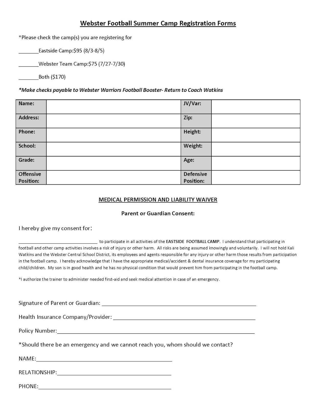 blank registration form template