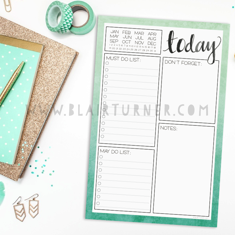 Mint Ombre Daily Planner Notepad