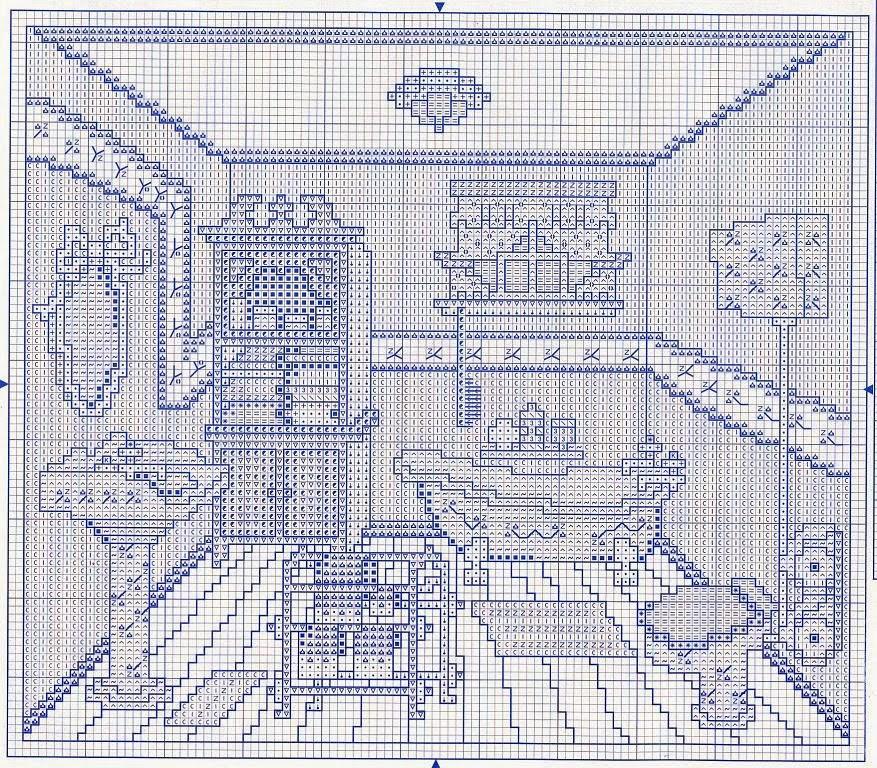 Hobby lavori femminili - ricamo - uncinetto - maglia: schema punto a croce stanza bagno