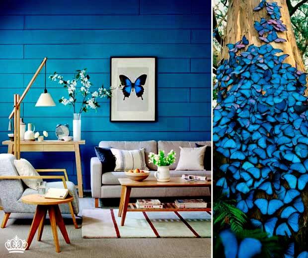 decoracao de sala azul turquesa e amarelo : decoracao de sala azul turquesa e amarelo:Parede azul contrastando com sofá bege e poltrona cinza. Projeto