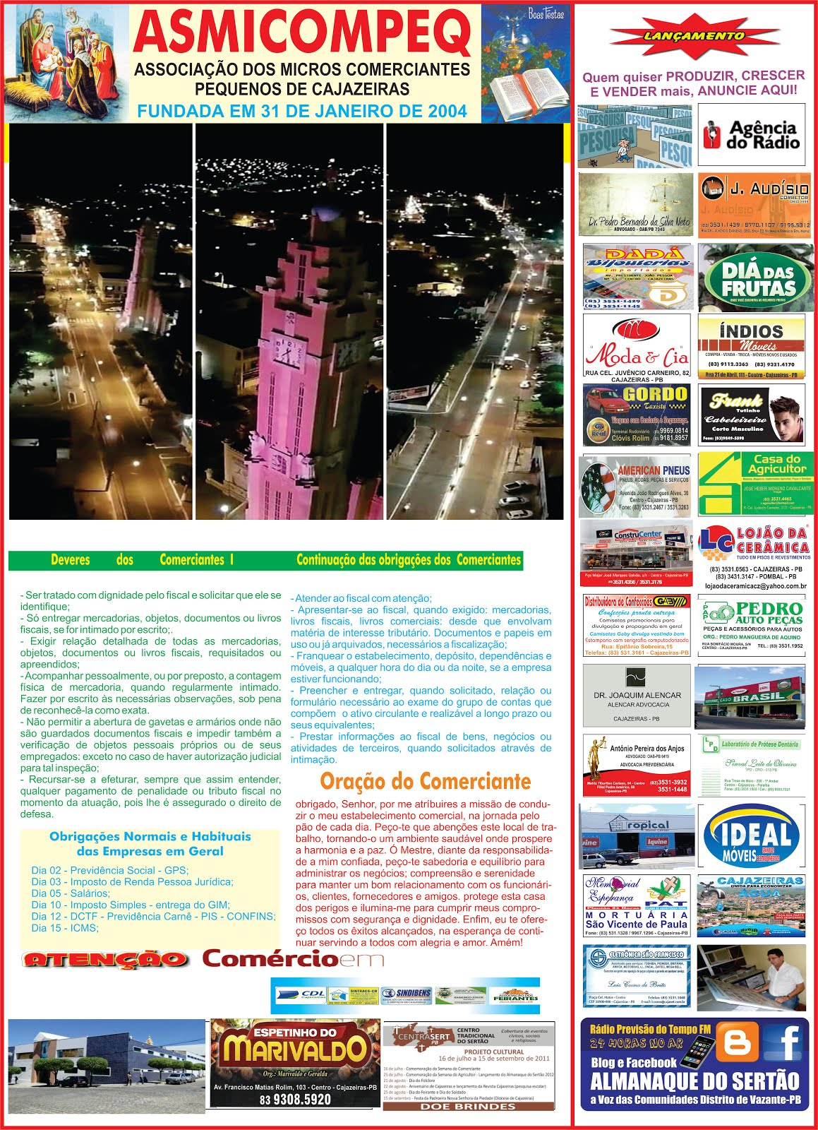 CALENDÁRIO  DE ATIVIDADES DO COMERCIO  OS POBRES COMERCIANTES  PAGAM ALTOS  IMPOSTOS LUZ  ÁGUAS