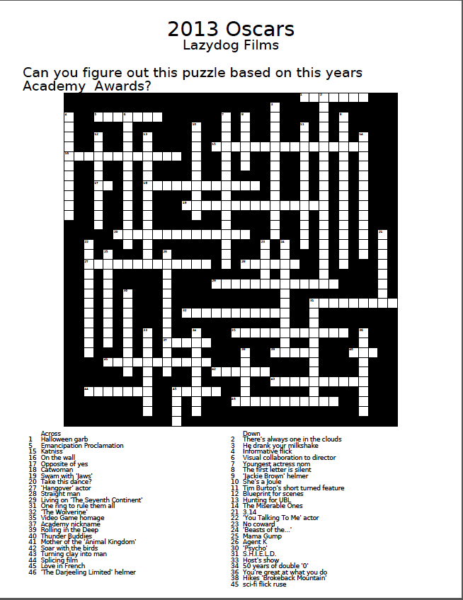 An oscar crossword puzzle to pass the time lazydog films tell me what you guys think you can either right click and save the image below or you can click the link at the bottom to download a printable pdf version malvernweather Gallery