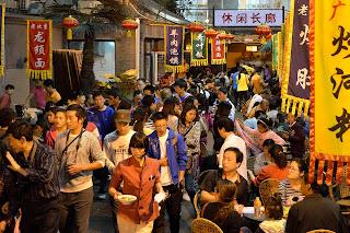 Crowd scene on Snack Street at Wangfujing in Beijing
