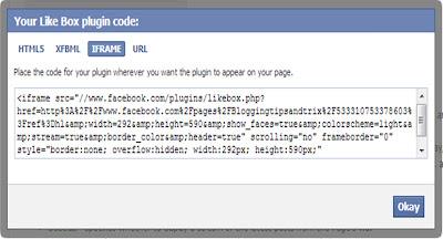 insert facebook like box
