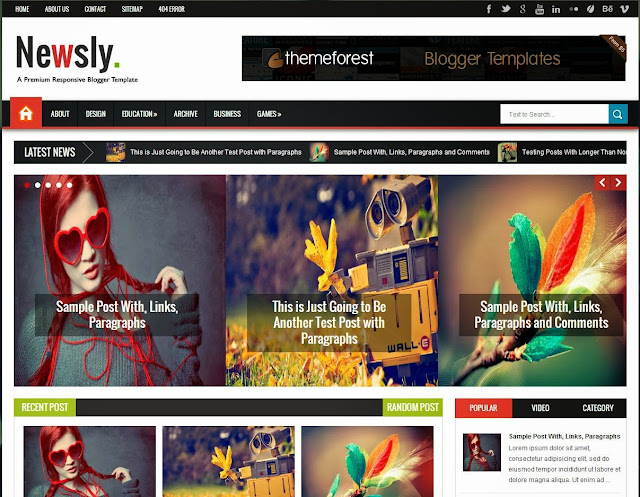 Download Free Newsly – Responsive Multipurpose Blogger Template