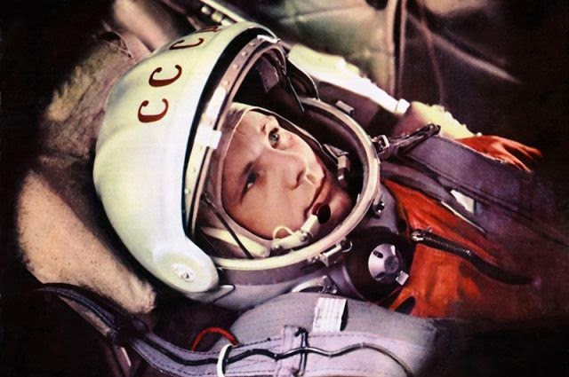 Yuir Gagarin in the cabin of Vostok space ship during preflight check.