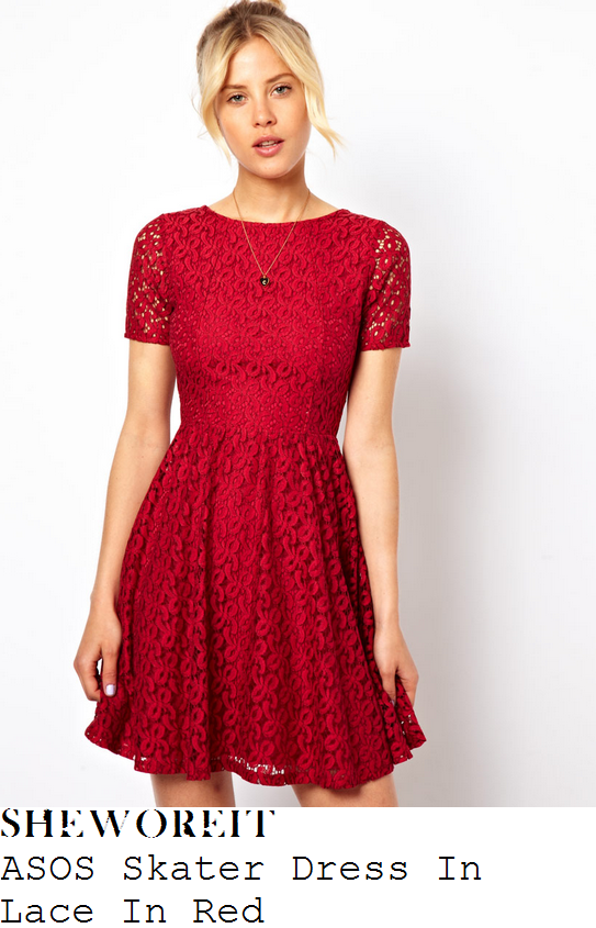 holly-willoughby-red-lace-short-sleeve-pleated-skater-dress-this-morning