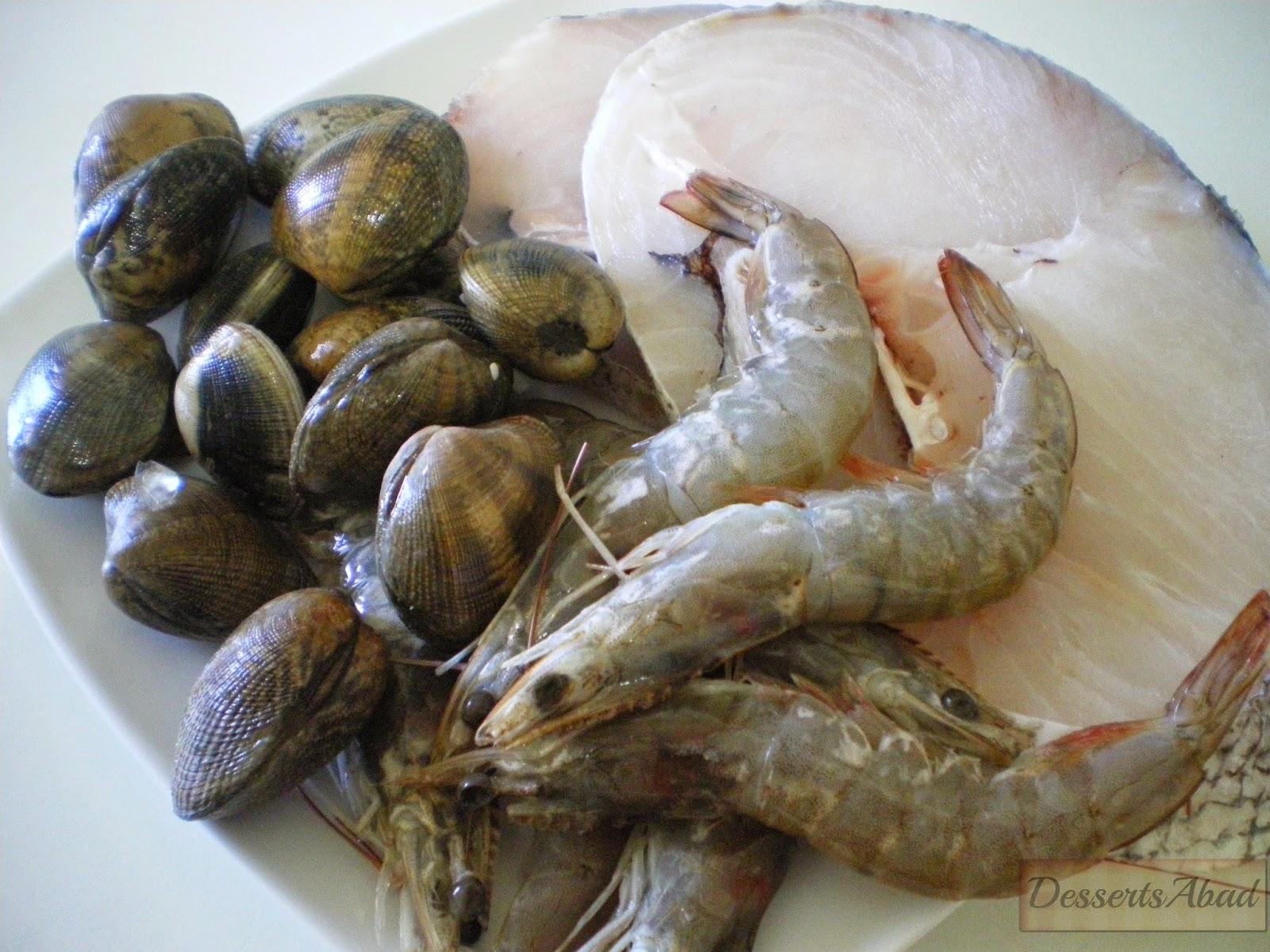 Merluza con langostinos y almejas sobre patata confitada, ingredientes