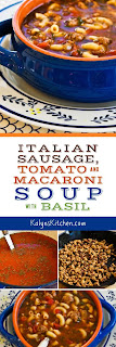 Easy Italian Sausage, Tomato, and Macaroni Soup with Basil found on KalynsKitchen.com