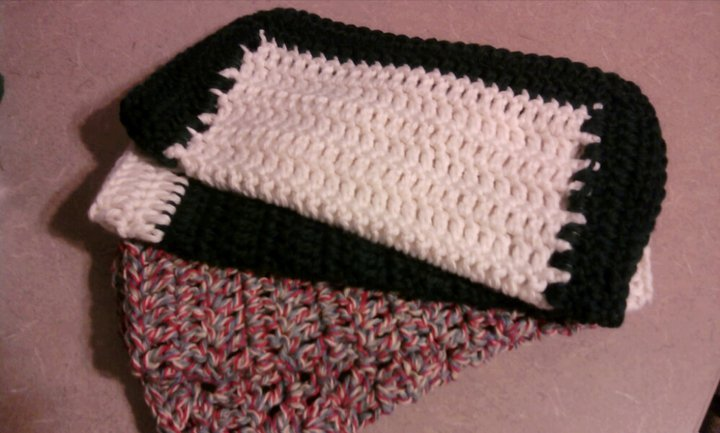 Crocheting Dish Rags : Cheryls Items of Interest: Cotton Crochet Dish Rags out of Sweaters