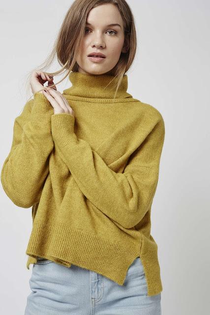 mustard roll neck jumper, zip back mustard jumper,