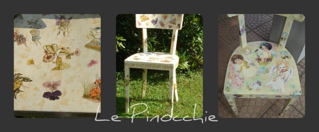 Le pinocchie sedie decoupage for Sedie decorate a decoupage