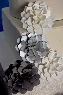 paper dahlia silver gray wedding theme