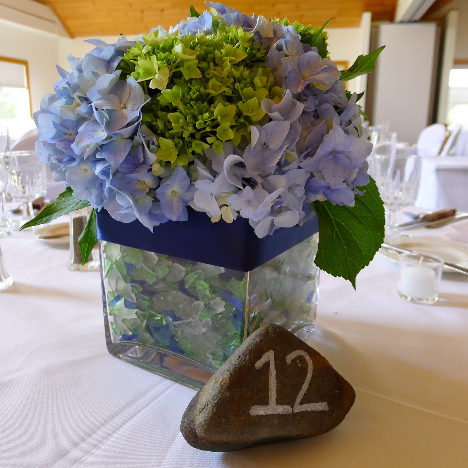 Seaglass and hydrangea wedding at spruce point inn flora