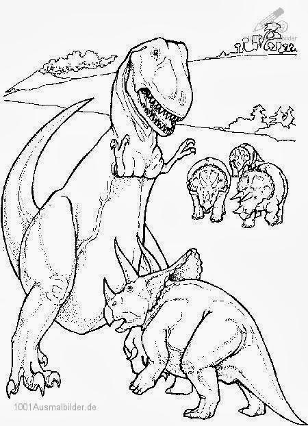 Malvorlagen Dino Kostenlos - Kostenlose Malvorlage Dinosaurier-Familie - Schule und