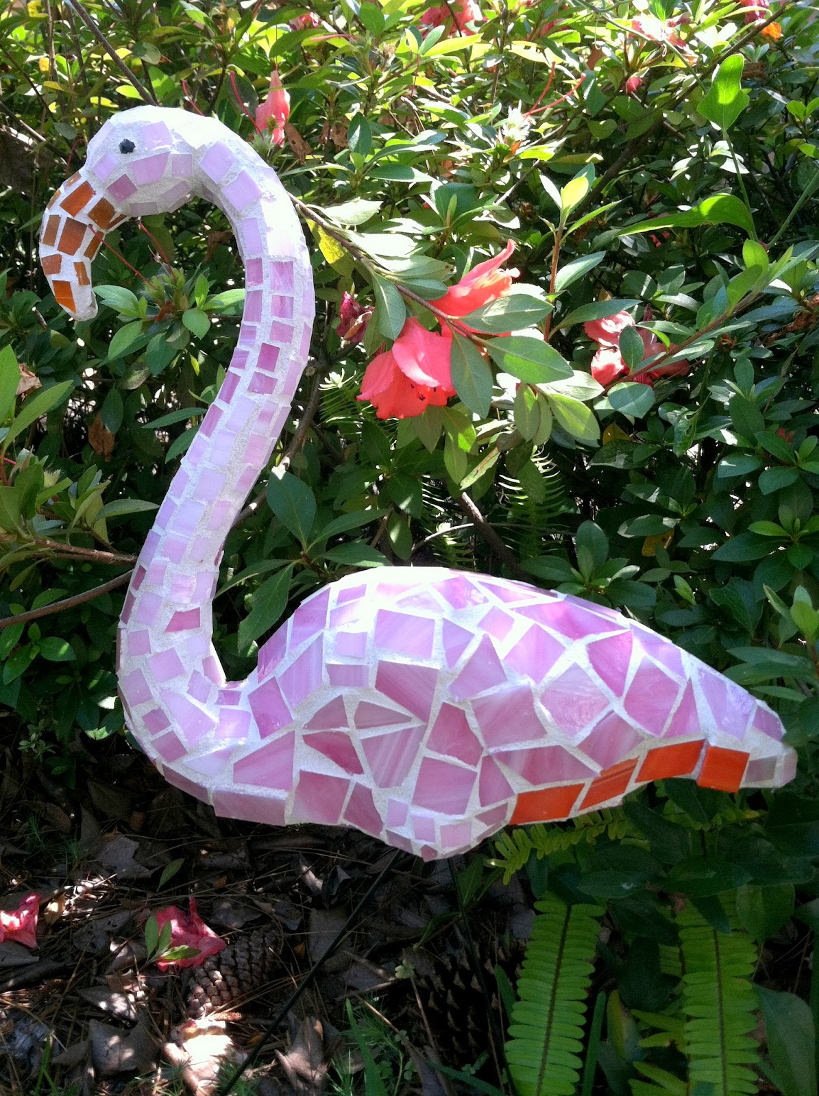 Flamingo garden ornament - Pink Mosaic Flamingo Garden Art Made From Plastic Pink Dollar Store Flamingo
