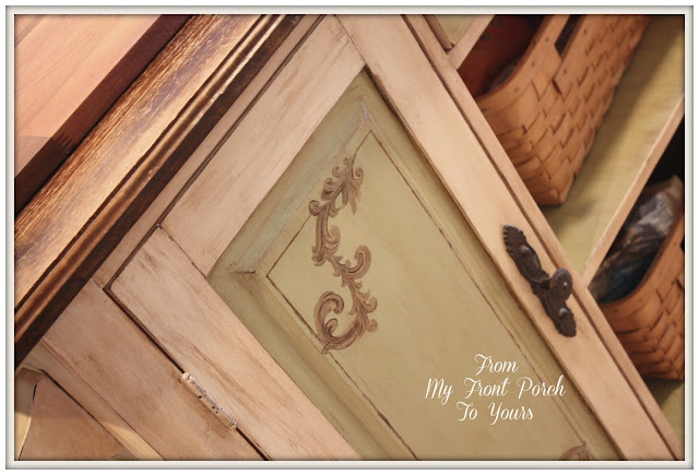 French Farmhouse Kitchen- French Country Kitchen- Hand painted Kitchen Island- From My Front Porch To Yours