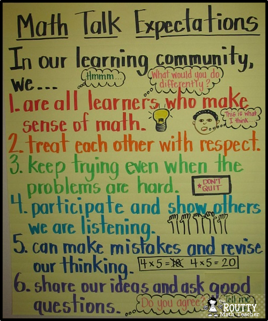 Math Talk Expectations Anchor Chart