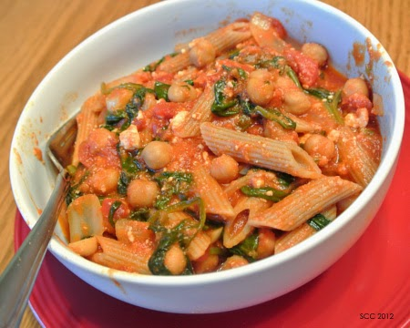 http://www.thesmartcookiecook.com/2012/06/26/chickpea-feta-spinach-marinara-w-penne/