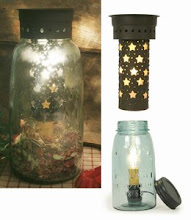Primitive★Punched Stars★Quart★    Mason Jar★Wax Warmer★