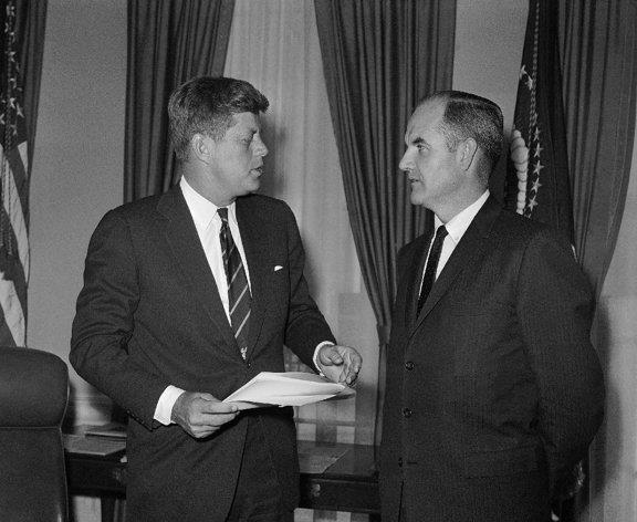 Jan. 24, 1961 President John F Kennedy talks, with George McGovern