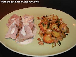 Schweinefilet mit Apfel-Calvados-Sosse und Bratkartoffeln