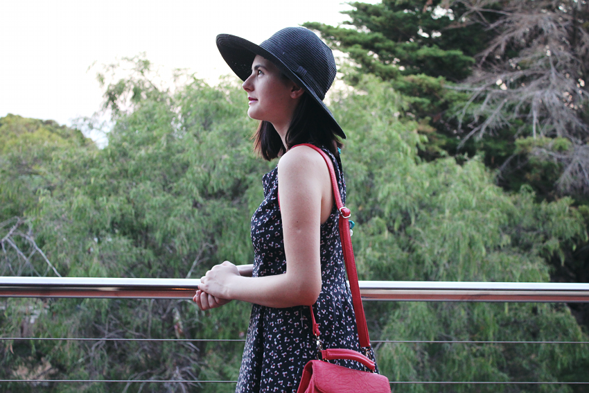 diy, fashion, fashion blogger, blogger, blogger style, street style, trend, style, ootd,wiwt, handmade, skater dress, how to make a skater dress, diy skater dress, floral dress, summer outfit inspiration, spring outfit inspiration, melbourne blogger, australian blogger, like a harte, ivana petrovic, floppy hat, colette hayman, coral bag, converse, low top white converse,