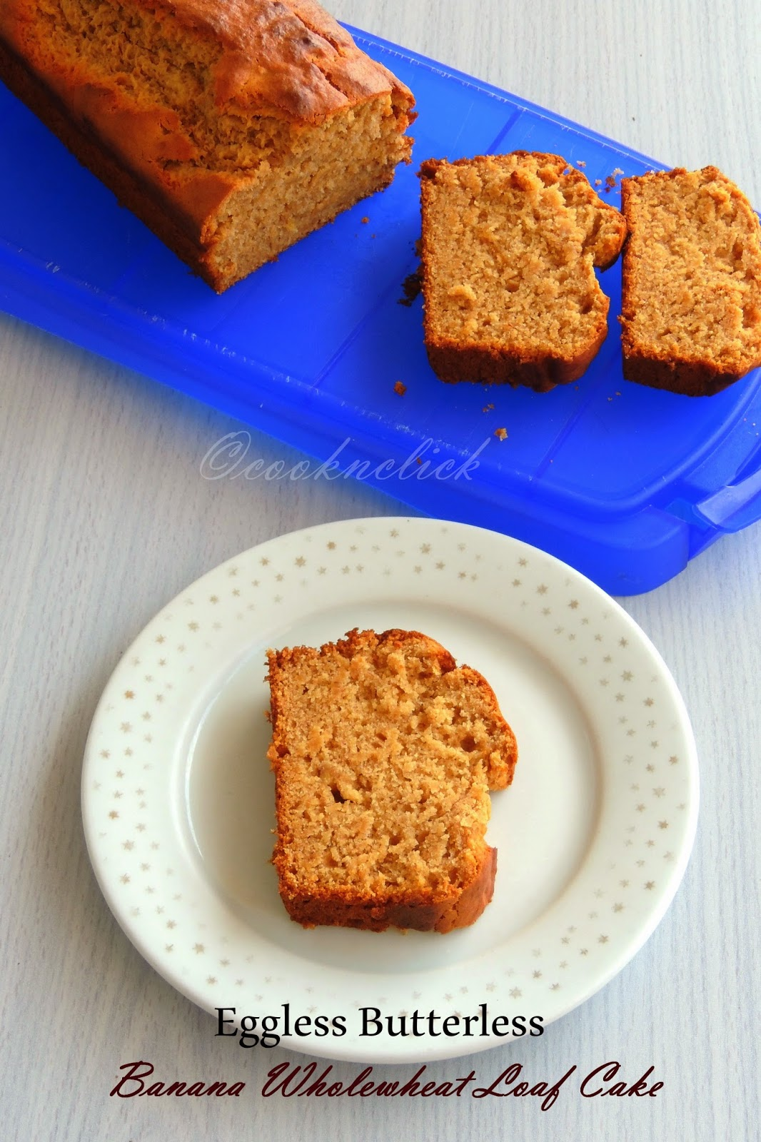 Eggless Butterless Banana Wholewheat loaf cake, Loaf Cake, Healthy Banana Loaf Cake