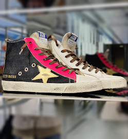 Golden Goose Limited Edition sneakers at new store on Oak Street.