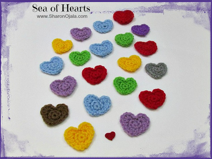 pile of crochet hearts