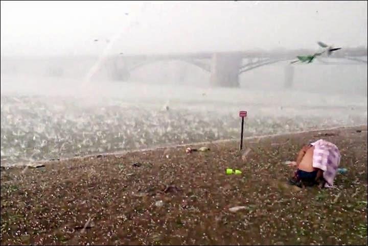 Freak Hail Storm Hits Siberian Beach In Mid Summer Snow