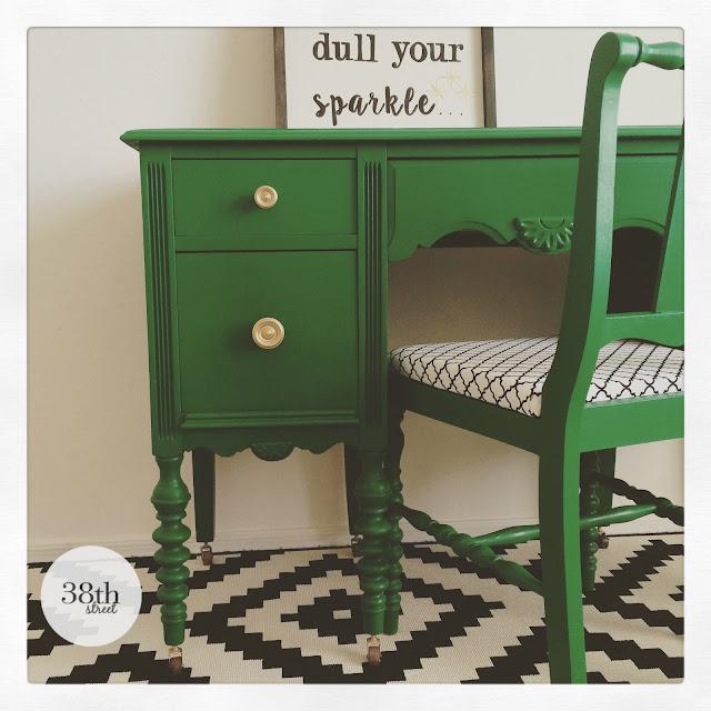 emerald green desk, gold hardware, reupholstered chair, before and after, painted desk, refinished desk, desk makeover