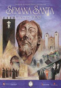 Cartel de Semana Santa de Cáceres 2018, dedicado a la Cofradía del Cristo Negro.