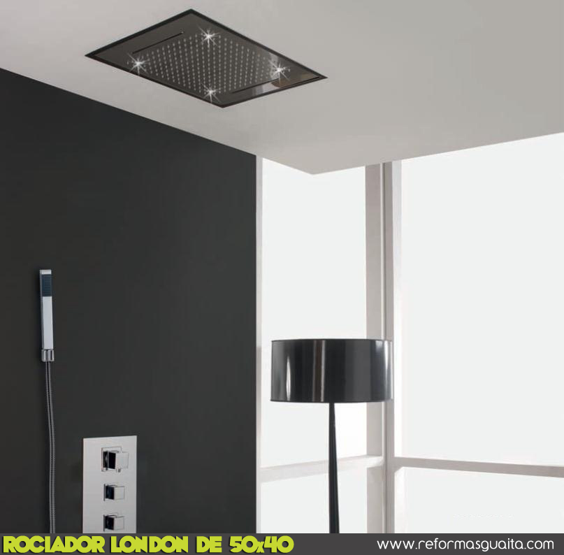 Rociador london de 50x40 con 2 cascadas cruzadas for Ducha de lluvia techo