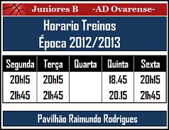 Horario de Treinos Época 2012/13