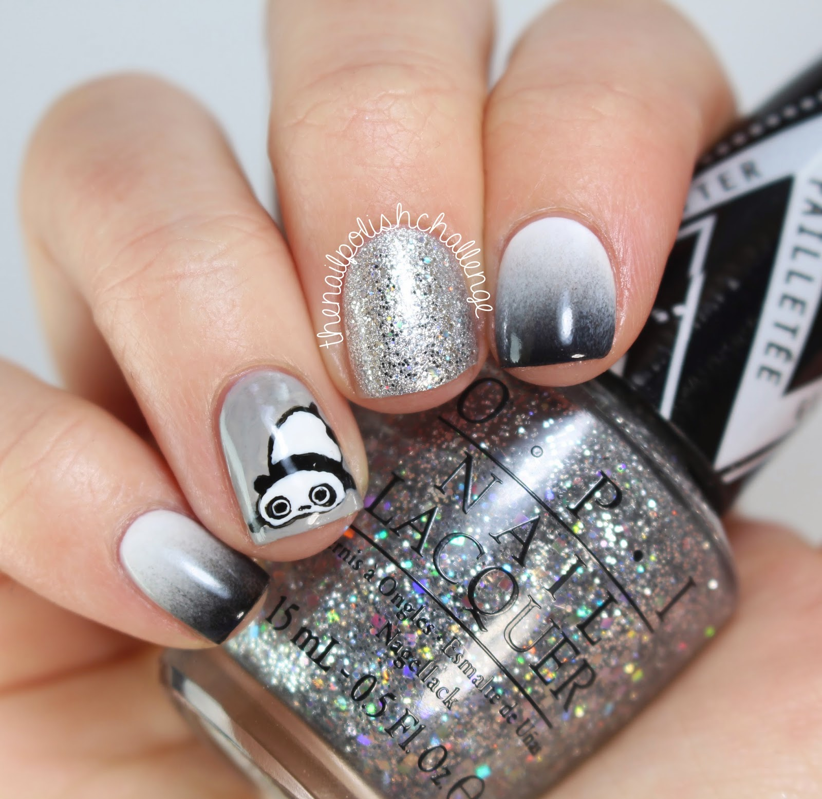 Kelli marissa grayscale panda nail art so we all know im not great at freehanding haha but i am pretty happy with how this little panda turned out i used all nail polish for this manicure prinsesfo Image collections