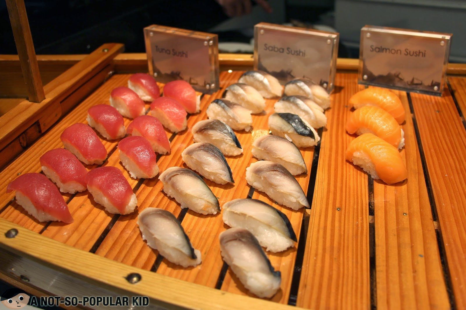 Tuna sushi, Saba Sushi and Salmon Sushi of Vikings