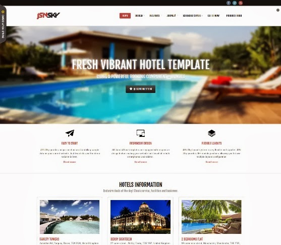 JSN Sky Responsive Hotel Theme & Jomres support