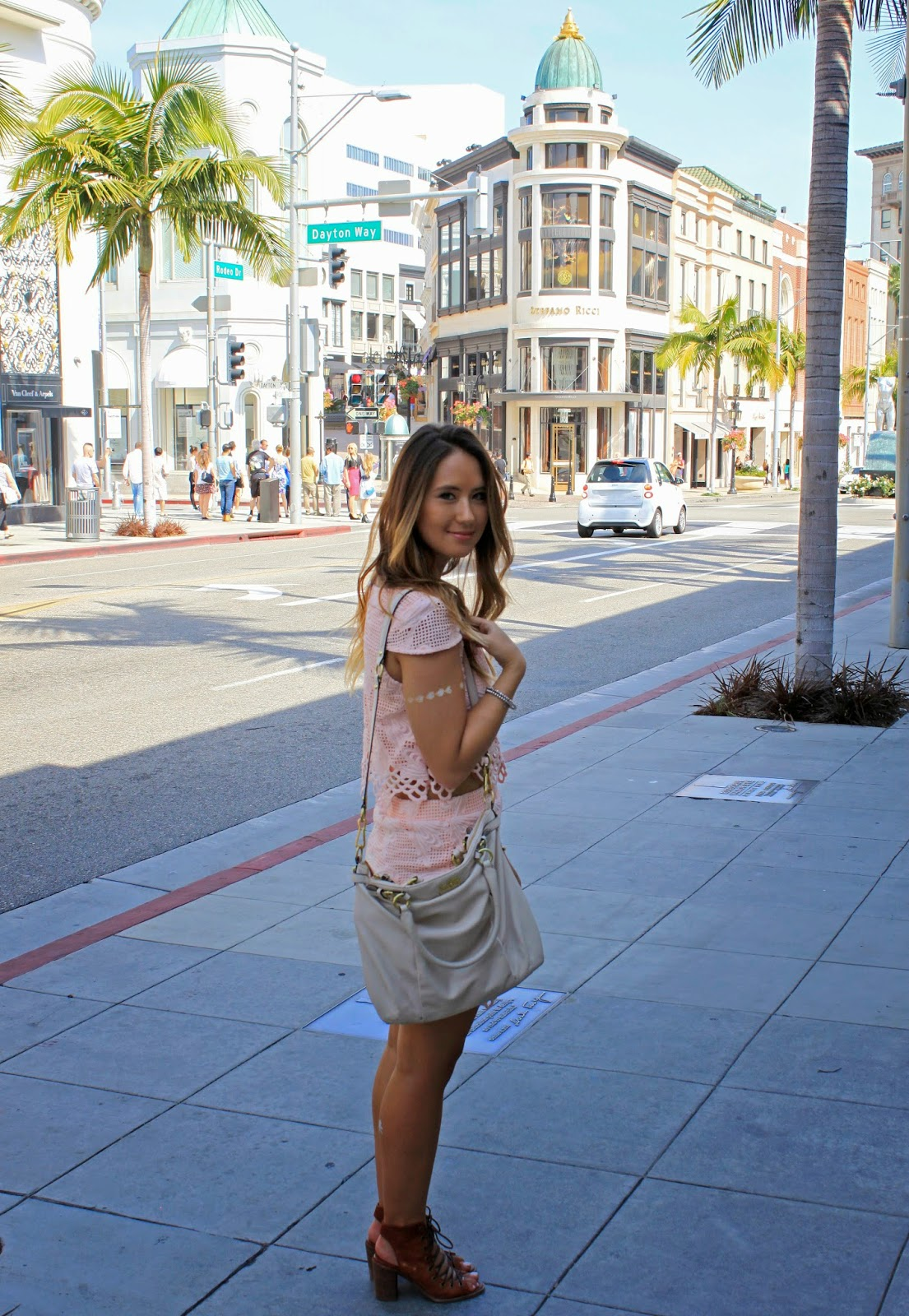 Fashion blogger Boho Nouveau at Sprinkles Cupcake on Rodeo Drive in Beverly Hills