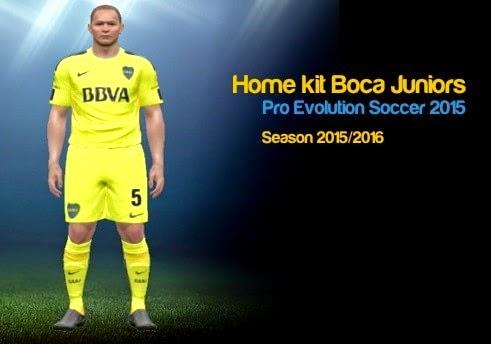 PES 2015PC: Primeiro uniforme 2015/2016 Boca Juniors - Home Kit