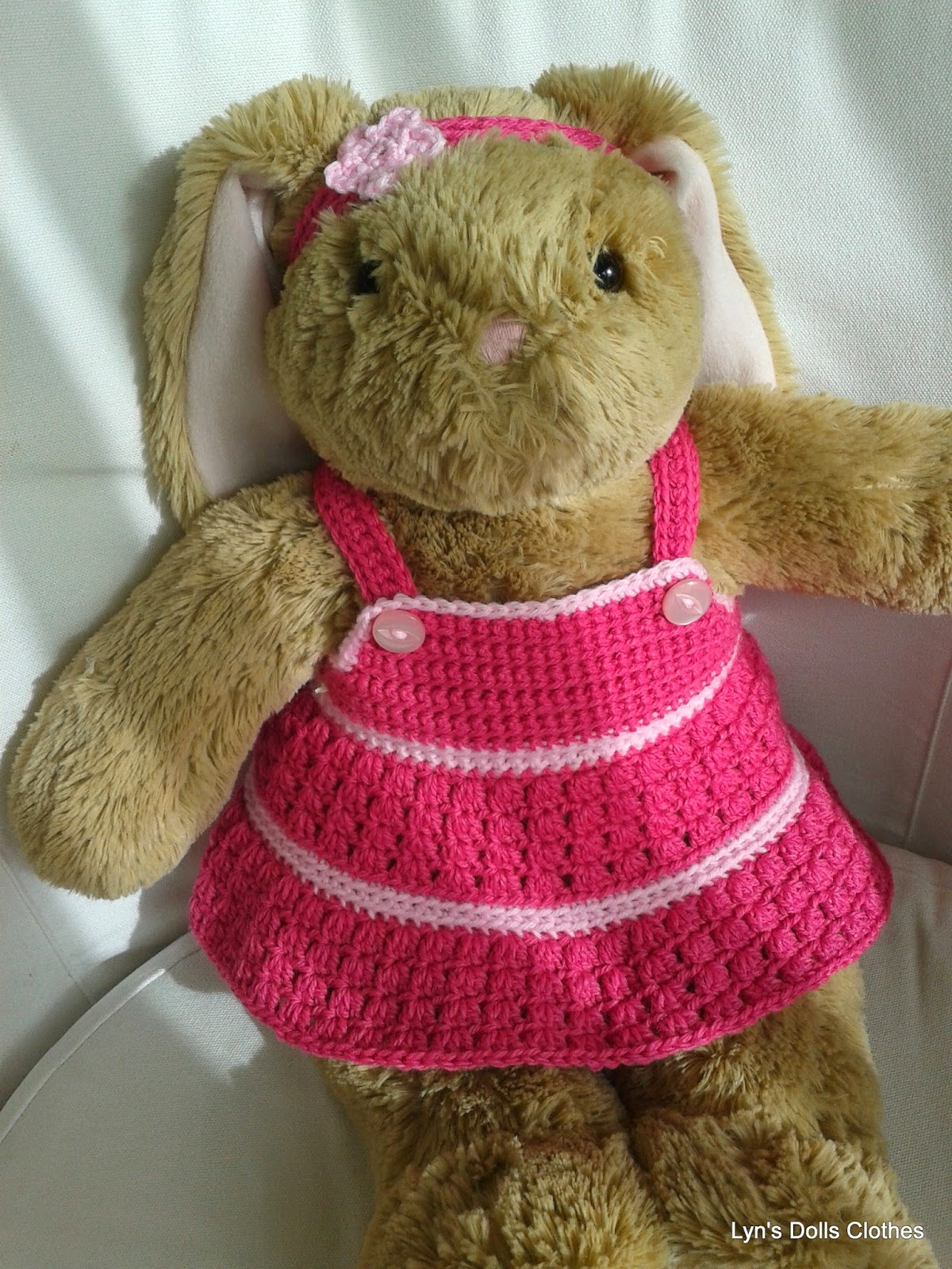 Lyns Dolls Clothes: Teddy bear crochet dress and headband