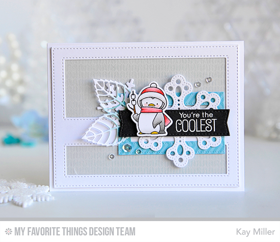 Coolest Penguin Card by Kay Miller featuring the Birdie Brown Toasty Greetings stamp set and Die-namics, and the Layered Leaves, Let it Snowflake, Pierced Snowflakes, and Stitched Cover-up Companion - Horizontal Die-namics #mftstamps