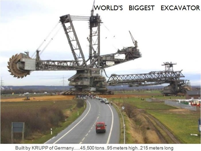 World's biggest excavator was built by KRUPP of Germany. It sized 95 meters high - 215 meters long and 45000 tons, world records, biggest excavator