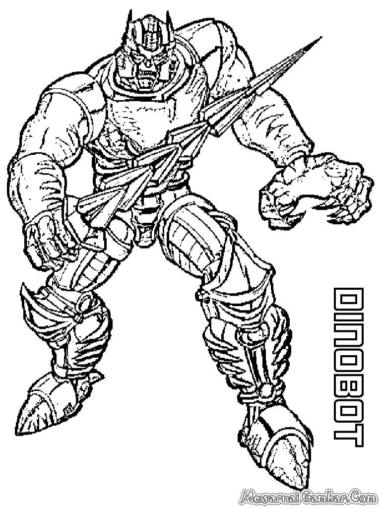 Mewarnai Robot Dinobot Transformer