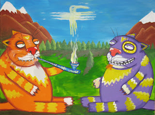 Wise cats smoke peace pipe, snow mounts, green grass, eagle bird cloud, funny pictures, comics, caricatures