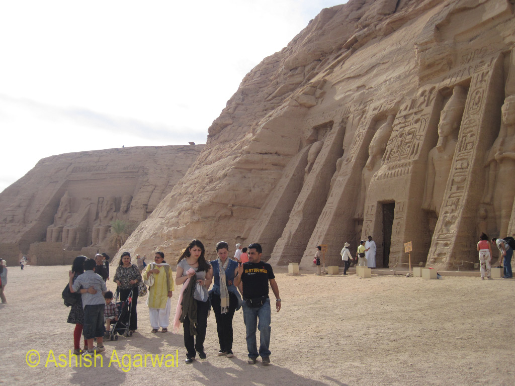 Tourists in front of the temple of the royal queen, Nefertari, at Abu Simbel in south egypt