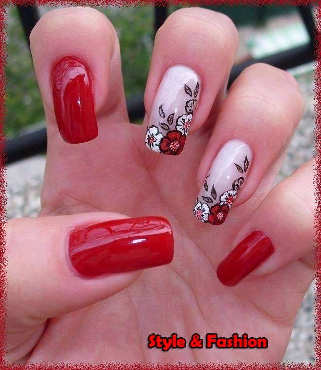 Red And White Nail Arts By Red Nail Polish Style Fashion