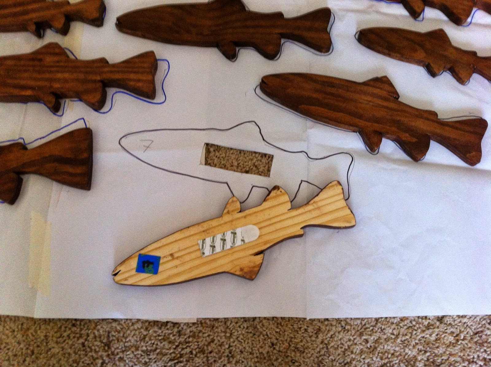 School of Fish - Stained Wood (3M Hangers)